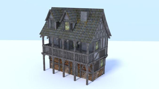 medieval city house 3d model low-poly obj mtl 3ds fbx stl blend dae 1