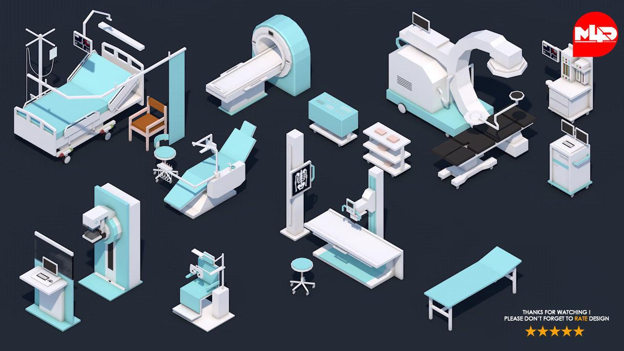 Low Poly Hospital Set - Medical Equipments