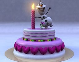 3D model Birthday Cake with Frozen Snow Man