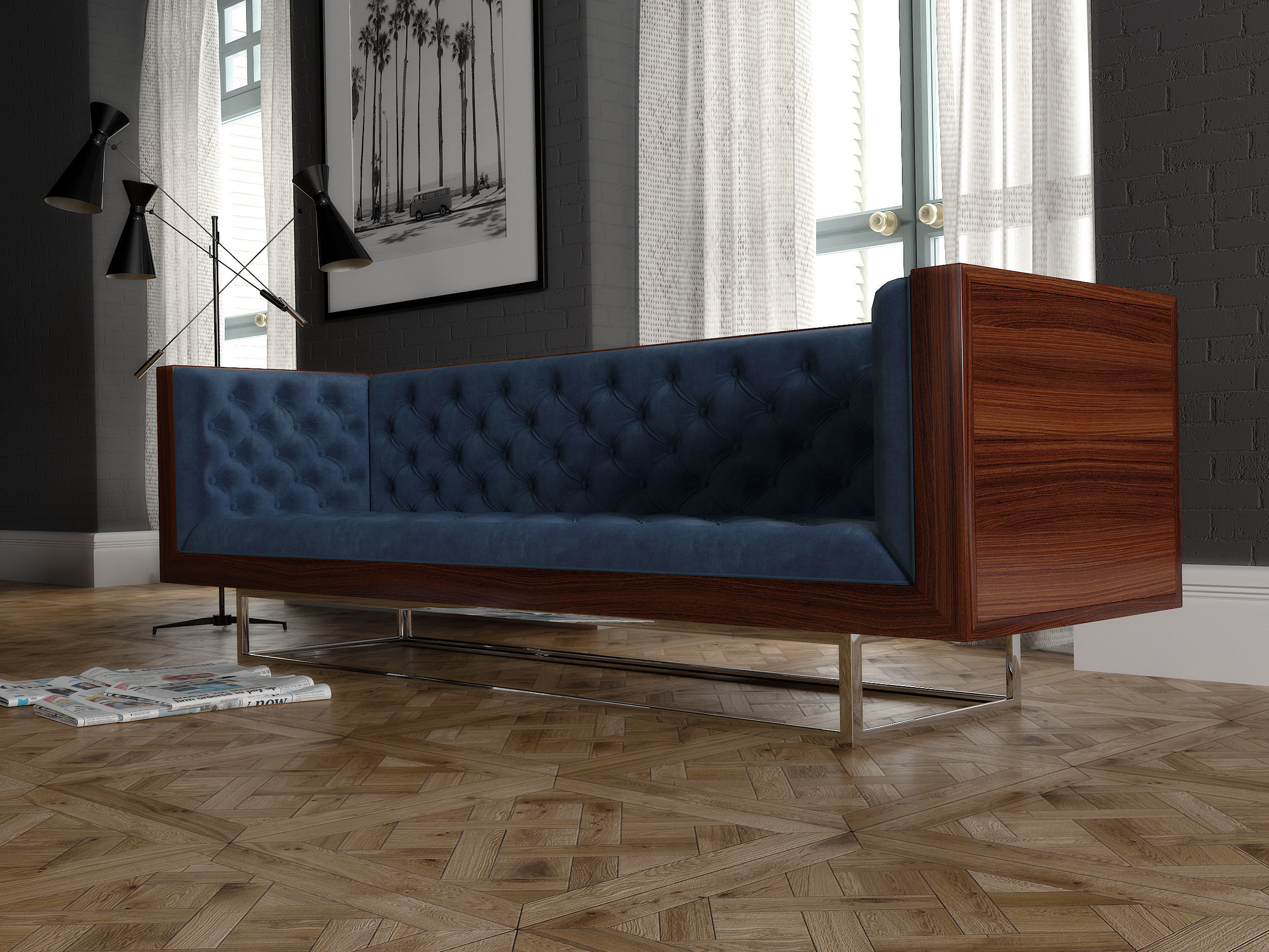 Milo Baughman velevet sofa
