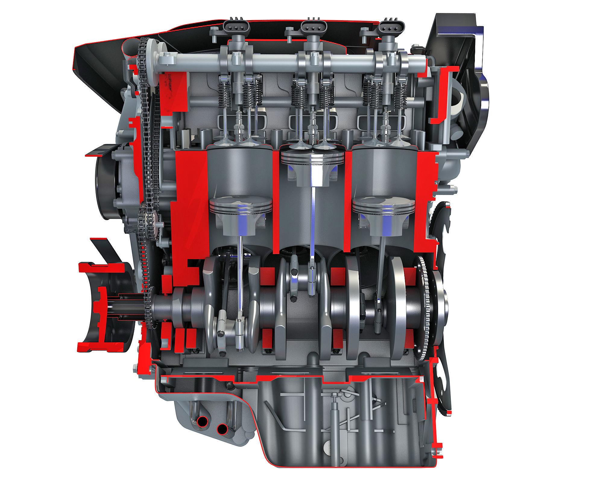 Animated Sectioned V6 Engine
