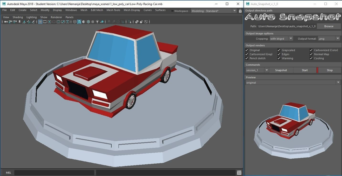 Auto Snapshot plug-in for Autodesk Maya