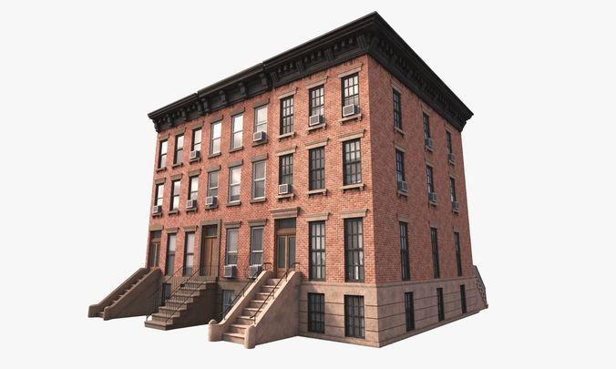 generic buildings new york 3d model low-poly max obj mtl fbx tga 1