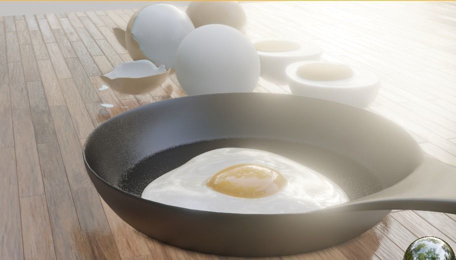 boiled eggs fried eggs and frying pan