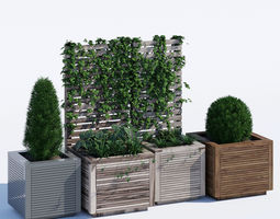 Square modern planters 3D model