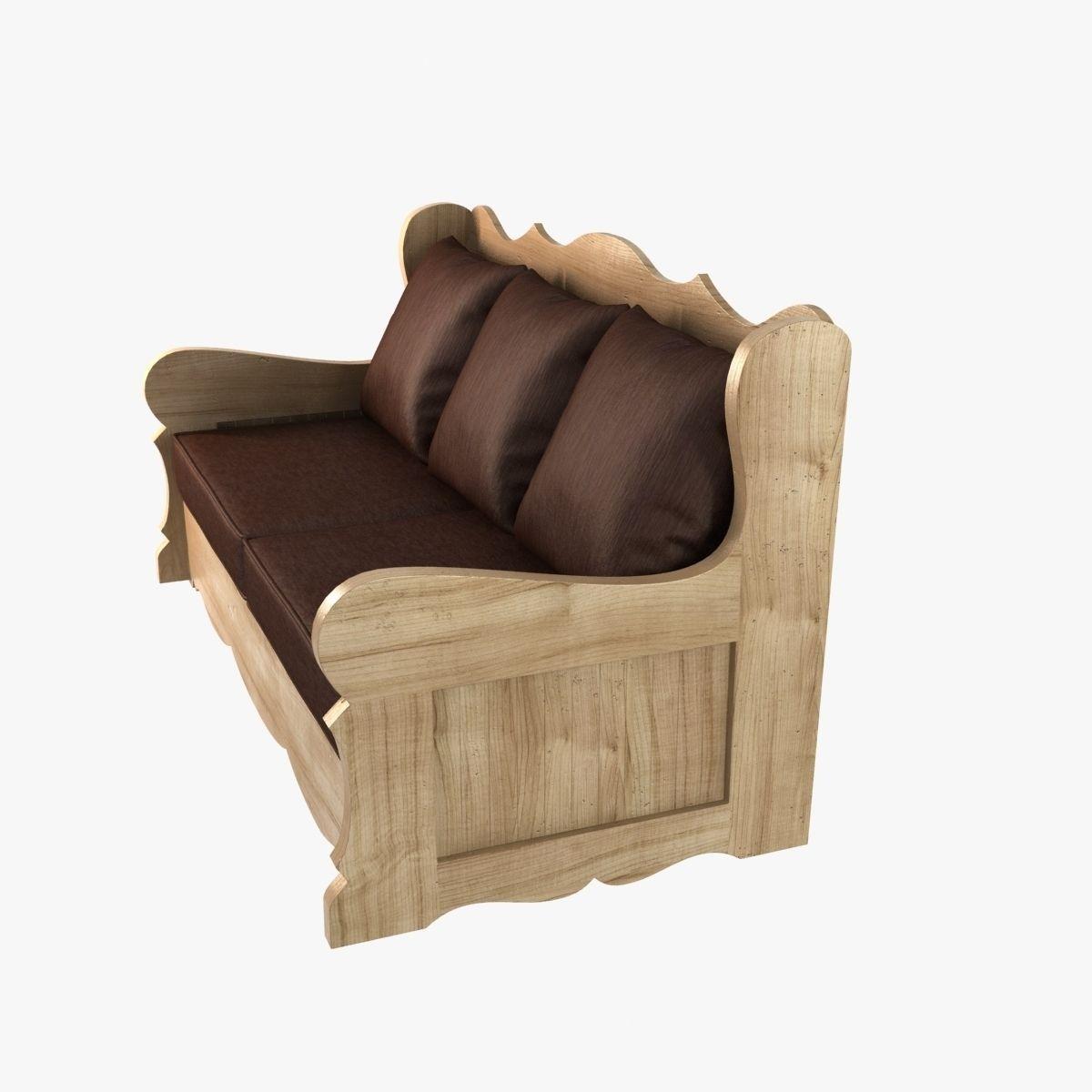 Wood Sofa Provence Village Style 3d Model Max Obj 3ds Fbx
