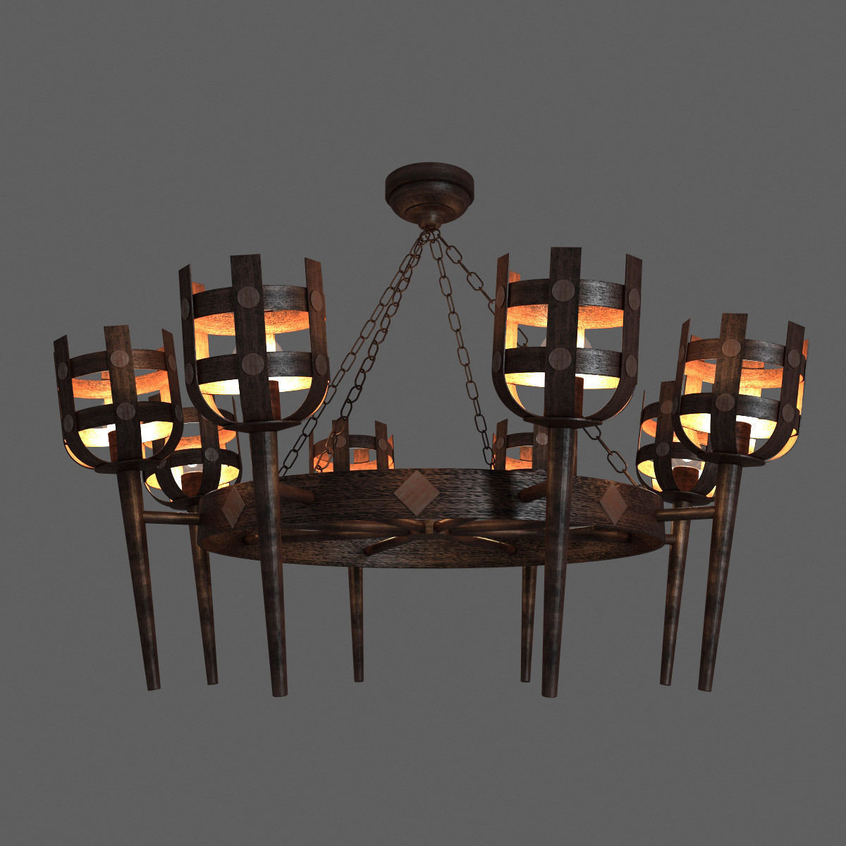 3d classic medieval rustic iron chandelier cgtrader classic medieval rustic iron chandelier 3d model max obj 3ds fbx mtl 1 aloadofball Image collections