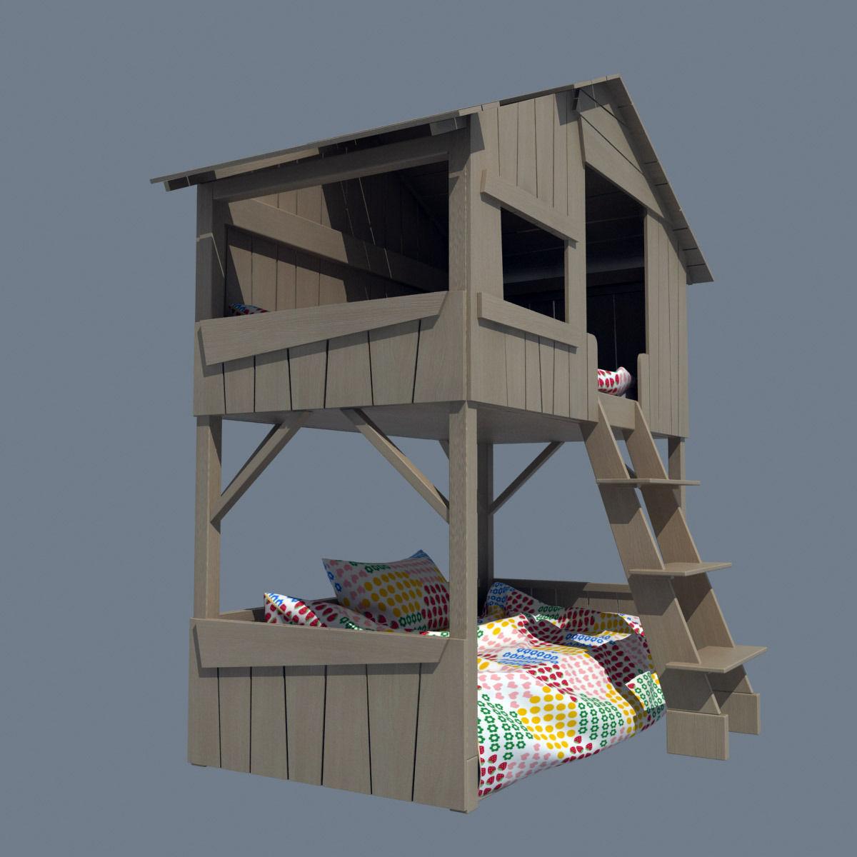 Bunk bed 3d model max obj 3ds fbx for 3ds max bed model