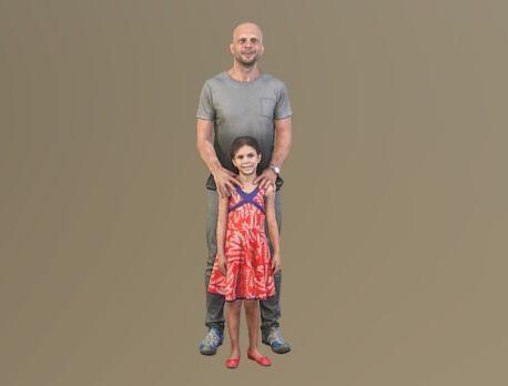 no114 - father and daughter 3d model obj mtl stl 1