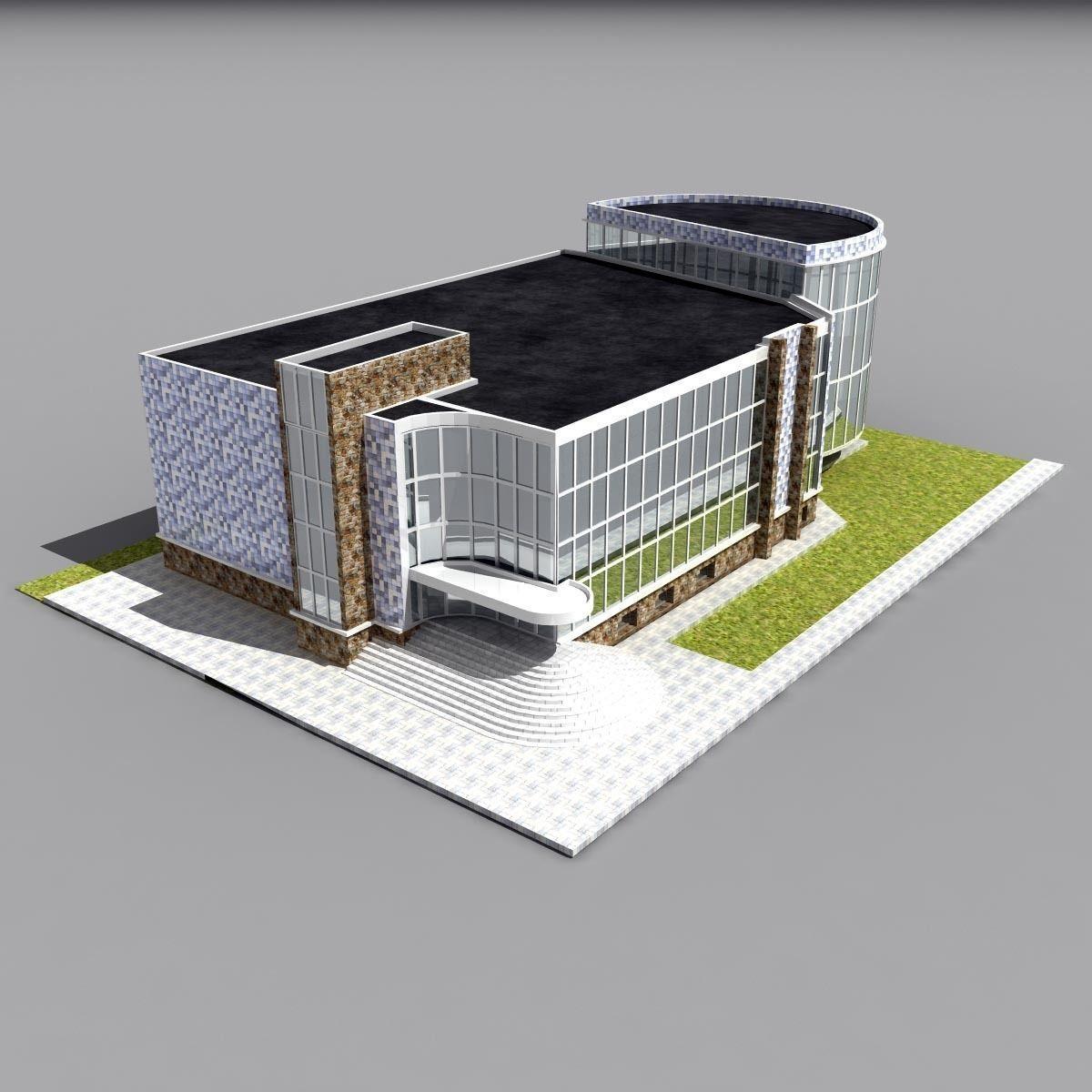Sport school building 3d model max obj 3ds fbx for 3d max building