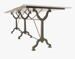 3d model restoration hardware  factory zinc  cast iron dining tables