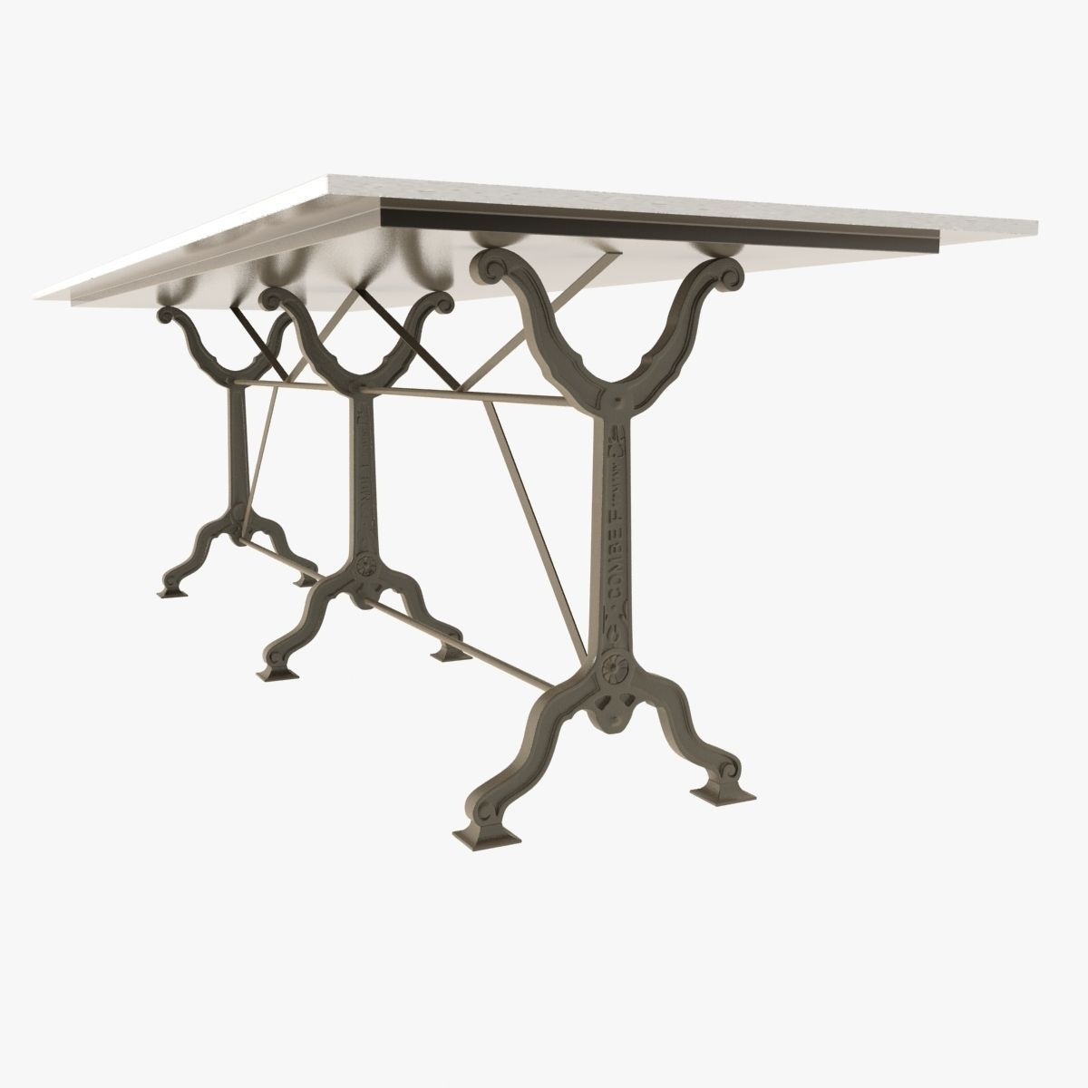 Restoration Hardware Factory Zinc Cast Iron Dining Tables 3d Model Max Obj  Fbx Mtl ...