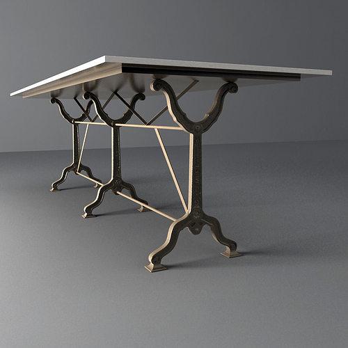Restoration Hardware Factory Zinc Cast Iron Dining Tables Model Max Obj Mtl Fbx