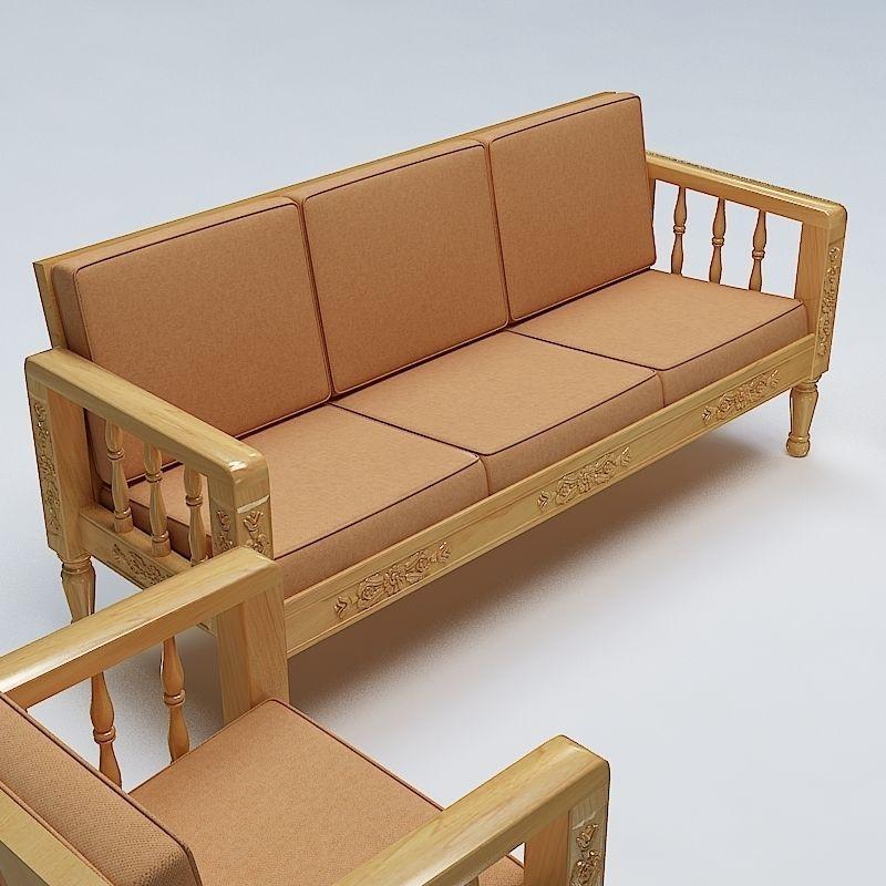 Sofa Set Wooden 3D Model MAX OBJ 3DS FBX LWO LW LWS MTL ...