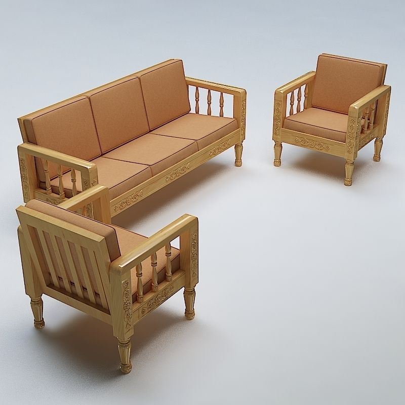 Sofa Set Wooden 3d Model Max Obj 3ds Fbx Lwo Lw Lws Mtl 1 ...