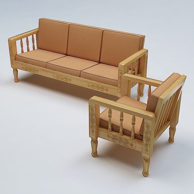 Sofa Set Wooden 3d Model Max Obj 3ds Fbx Lwo Lw Lws
