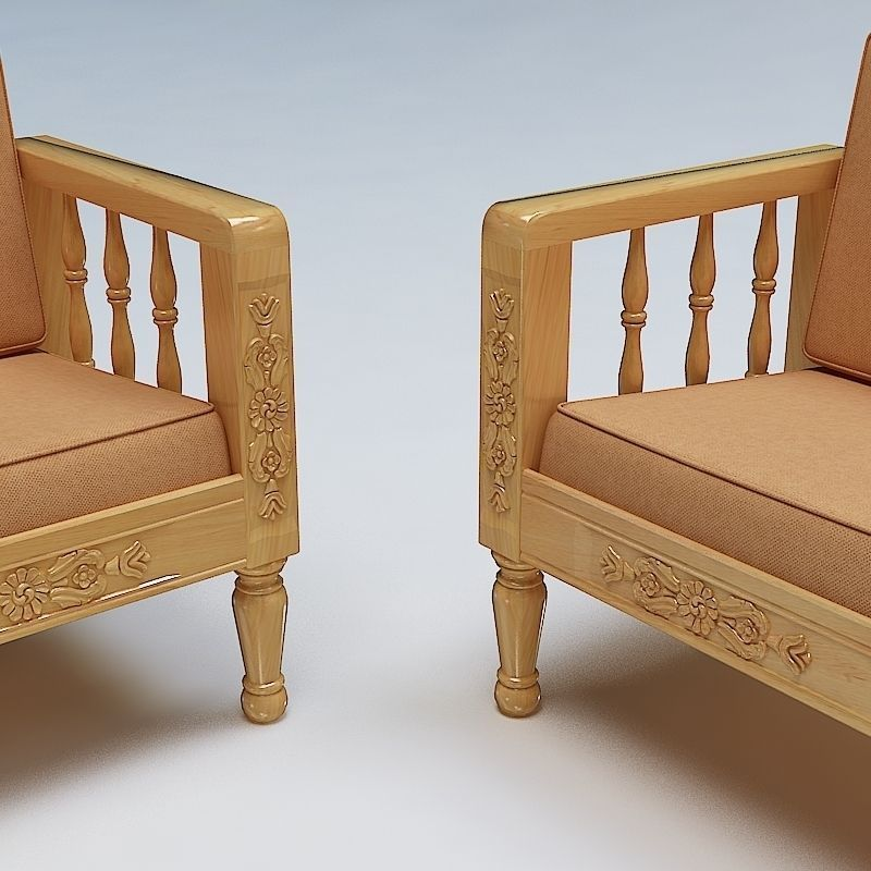 Sofa Set Wooden 3D Model MAX OBJ 3DS FBX LWO LW LWS ...
