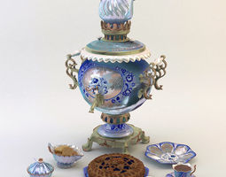 samovar and pie 3D model