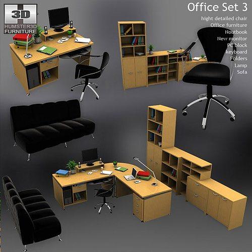 Office Set 3d Model Cgtrader