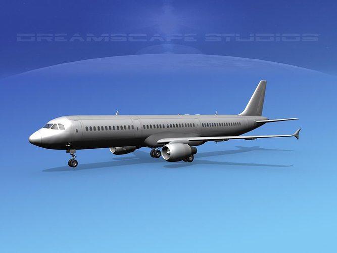 airbus a321 bare metal 3d model max obj mtl 3ds lwo lw lws dxf stl 1