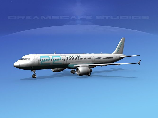 airbus a321 charter 22 3d model max obj mtl 3ds lwo lw lws dxf stl 1