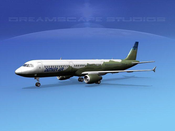 airbus a321 denver air 3d model max obj mtl 3ds lwo lw lws dxf stl 1