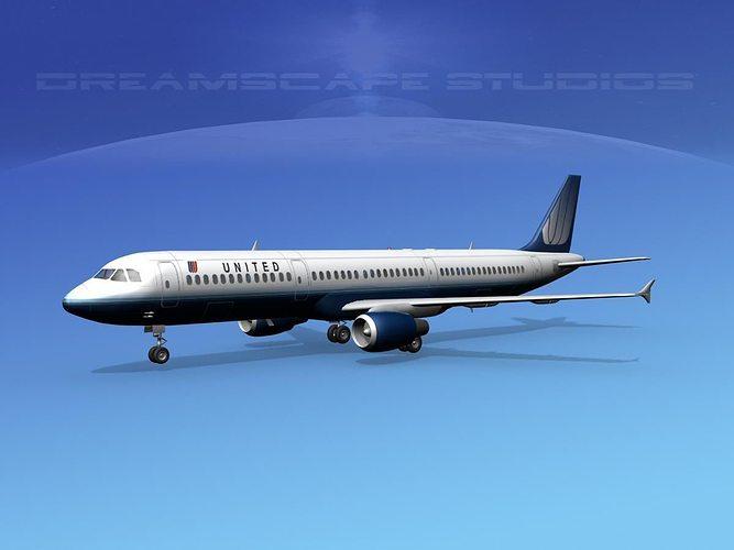 airbus a321 united 2 3d model max obj mtl 3ds lwo lw lws dxf stl 1