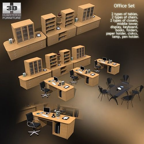 Office Set 3d Model Low Poly Cgtrader