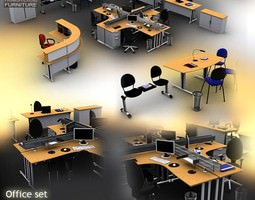 Office Set 3D model VR / AR ready