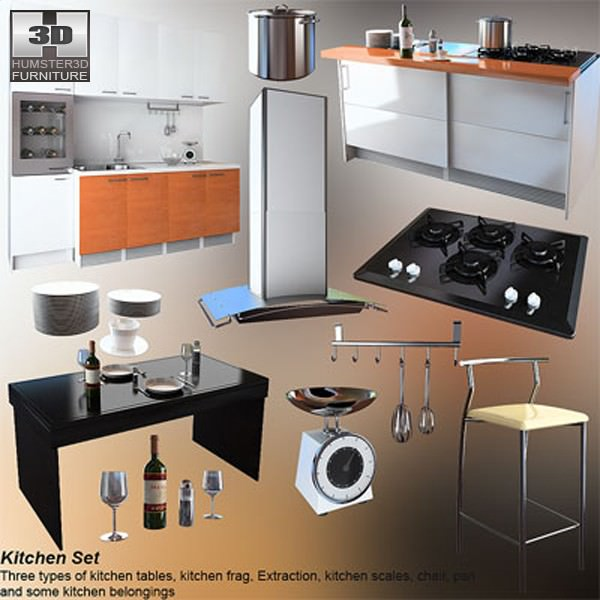3d model kitchen set 4 vr ar low poly max obj 3ds fbx for Kitchen set 3d warehouse
