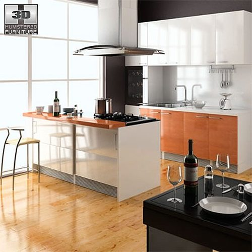 3d model kitchen set cgtrader for Model model kitchen set