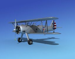 rigged stearman pt-17 kaydet military trainer 3d