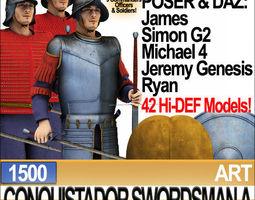 Conquistador Swordsman Props Poser Daz A 1500 3D Model