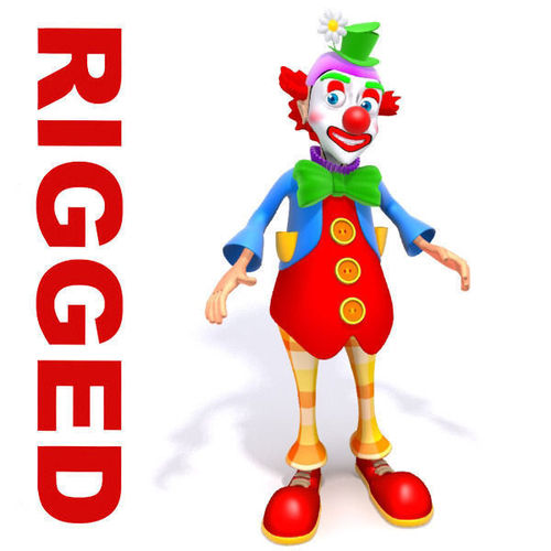 Clown cartoon rigged3D model