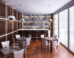Bar Cafe Restaurant interior 001 3D Model