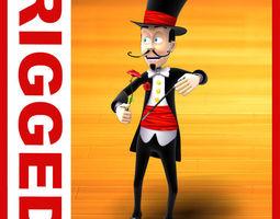 Magician cartoon rigged 3D model