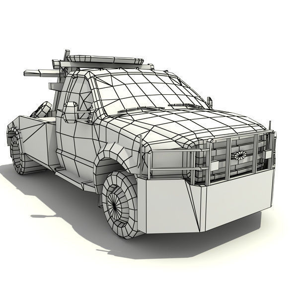 NYPD Tow Truck 3D Model Game Ready .max .obj .3ds .fbx