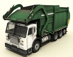 garbage truck 3d model low-poly rigged max obj 3ds fbx dae tga