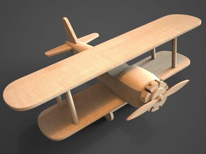Wooden Biplane Toy 3D Model .max .obj .3ds - CGTrader.com