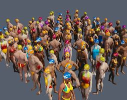 free texture pack for swimming pool people 3d model