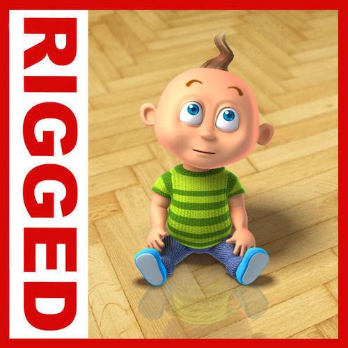 Boy cartoon rigged 013D model