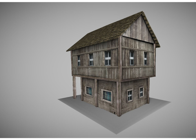 low poly medeival house3D model