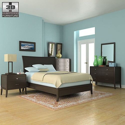 3D Model Bedroom Set 3 VR AR Low Poly MAX OBJ 3DS FBX C4D LWO LW LWS CG