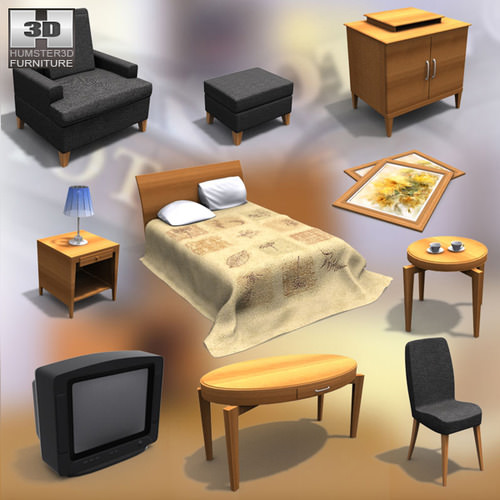 Hotel Room 01 3D Model Game-ready .max .obj .3ds .fbx .lwo .lw ...