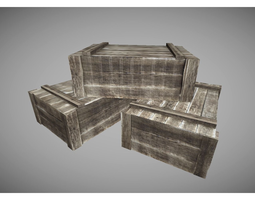 3D model low poly crates pack