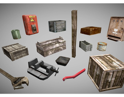 low poly garage objects collection 3D asset