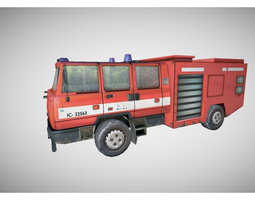 low poly fire truck 3D Model