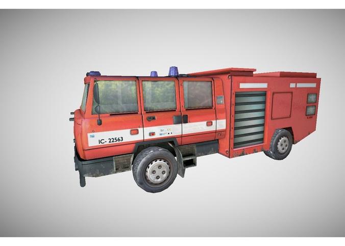 low poly fire truck3D model