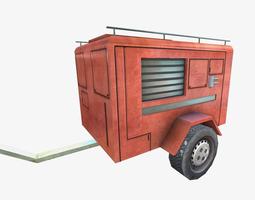 low poly fire truck trailer 3D Model