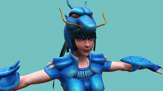 armor girl dragon seiya 3d model max obj fbx ma mb mtl 1